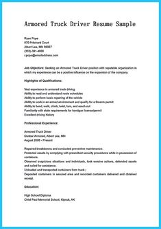 school bus driver resume sample cdl truck driver resume unforgettable - Sample Resume For Armored Truck Driver