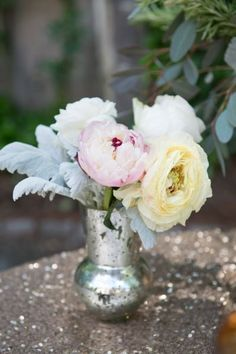 Vintage wedding centerpiece idea - mercury glass with pastel peonies, roses and dusty miller {Julie Anne Photography}