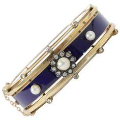 Antique French Napoleon III Enamel Diamond Pearl Gold Bangle Bracelet | See more rare vintage Bangles at https://www.1stdibs.com/jewelry/bracelets/bangles