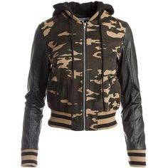Sans Souci Camo bomber hoody jacket ($49) ❤ liked on Polyvore featuring outerwear, jackets, army green, camouflage jacket, hooded jacket, flight bomber jacket, camouflage bomber jacket and green military jacket