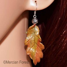 Oak Leaf Earrings in Fall Tones - Sacred Oak, Pagan Jewellery, Wiccan, Witch, Druid Pagan Jewelry, Fall Jewelry, Pentacle, Leaf Earrings, Organza Bags, Jewellery Making, Wiccan, Different Colors, Sculpting