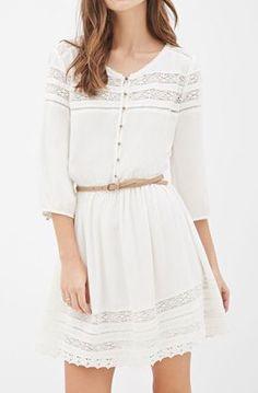 Belted Crochet-Paneled Peasant Dress