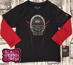 Under Armour Boys Red/Heather Football Helmet Long Sleeve Top Size 2T-7