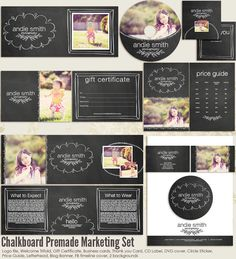 Chalkboard Premade Photography Marketing Set Templates