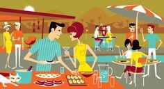 Josh Agle Daiquiris & Deviled Eggs print serigraph SHAG ART Modern Midcentury-- the colors in this one are perfect Mid Century Modern Art, Mid Century Art, Illustration Arte, Retro Summer, Summer Fun, Arte Pop, Retro Art, Artist Art, American Artists