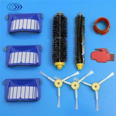 Aerovac filtrar + lado + cepillo de cerdas y flexible beater brush + herramientas de limpieza para irobot roomba 600 610 630 650 660