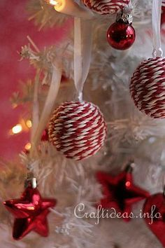Candy Striped Christmas Ornaments 1