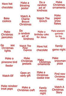 family to-do list over christmas time...would love to put them in a bowl and draw them out every night!