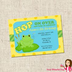 frog on lily pad invite Themed Parties, Party Themes, Party Ideas, Frog Frog, Invite, Invitations, Lily Pad, Cannon, Bees