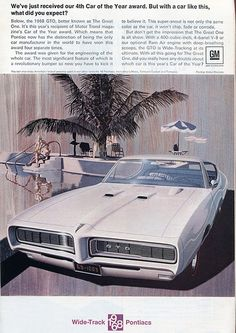 1968 Pontiac GTO Advertising - National Geographic February 1968