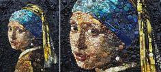 Jane Perkins, Britse kunstenaar maakt van gevonden voorwerpen klassieke kunst. ... . Ze werkt met  knopen en kralen, schelpen, plastic lepels, wasknijpers en zelfs LEGO. De sleutel achter Jane Perkins ongelooflijke werk is haar scherpe gevoel voor kleur en de... mooi inspiratie! vind ik!..