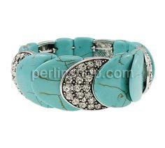 Mode Türkis Armband, Synthetische Türkis, mit Zinklegierung, antik silberfarben plattiert, mit Strass, 24x25x7.50mm, Länge:ca. 7.5 Inch, perlinshop.com