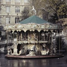 abandonded vintage carousel