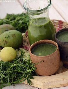 Made with raw mangoes, coriander, mint and spice powders, this Kairi ka Jaljeera tastes similar to pani puri ka pani, and is absolutely refreshing when served chilled. Shake Recipes, Veg Recipes, Indian Food Recipes, Smoothie Recipes, Cooking Recipes, Smoothies, Recipies, Juice Recipes, Healthy Cooking