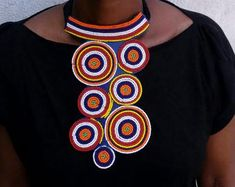 African gifts ideas for women - stunning Masai necklace by Africa Zuri African Earrings, Tribal Earrings, Tribal Jewelry, Leather Necklace, Beaded Necklace, Necklaces, Masai Jewelry, Unusual Jewelry, Statement Jewelry