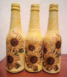 Barbantes e decupagem na decor da garrafa