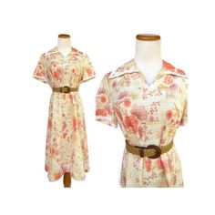 Mod Floral A-line Dress // 70s Mod Dress // Crochet Collar Boho Sundress // Secretary Midi Dress // Pink Floral Hippie Dress // Medium Large