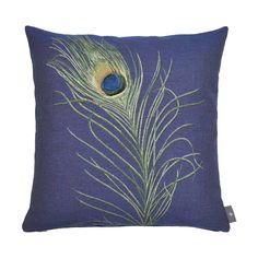 Coussin Plume de Paon , bleu violet - cushion - Art de Lys