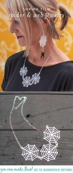 Shrink Film Spider Web Necklace Tutorial #halloweencostumes Wedding Crafts, Diy Wedding, Diy Craft Projects, Diy Crafts For Kids, Felt Kids, Shrink Film, Necklace Tutorial, Halloween Crafts, Halloween Party