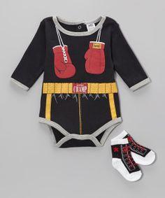 Black & Red Boxer Bodysuit & Socks
