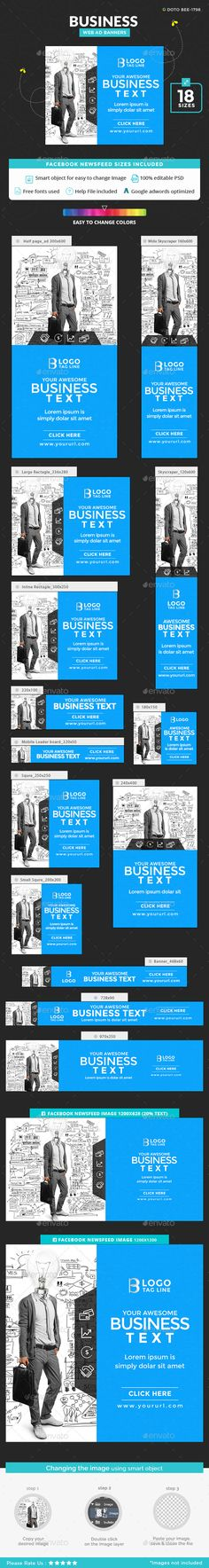 Business Banners — Photoshop PSD #deal #Google adwords banner • Available here → https://graphicriver.net/item/business-banners/18957031?ref=pxcr