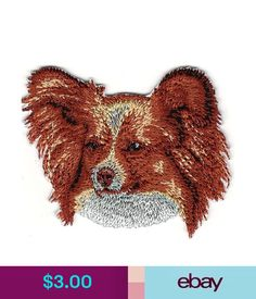 Embellishments & Finishes X 2 Brown Papillon Dog Breed Portrait Embroidery Patch & Garden Portrait Embroidery, Papillon Dog, Embroidery Patches, Dog Breeds, Moose Art, Teddy Bear, Appliques, Brown, Dogs