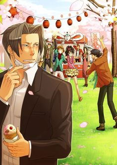 """preussens-tugenden: """" OKAY but this fanart has Edgeworth WITHOUT SUIT, WITHOUT CRAVAT, TOP BUTTONS UNDONE and suffering hay fever. Eat your ice-cream, Edgeworth. """""""