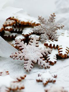 Dusted with sugar — delicious snowflake cookies.