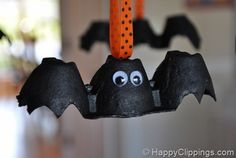 egg carton bats! Halloween! Hang from the chandelier with cute ribbon!