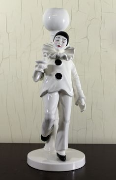 Pierrot Miree Clown with Champagne Glass Candlestick (E887). via Etsy.
