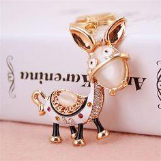 1PC Charm Donkey Keychain Crystal Keyring Rhinestone Pendant Bag Key Chain Ring