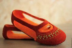 """Купить """"Лето в Крымской степи"""" летние валяные тапочки (терракот). - рыжий, терракотовый, кирпичный, оранжевый"""