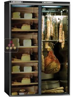 Combined delicatessen & cheese cabinet - up to capacity, My Wine Cabinet: expert site in wine cabinets from 6 to 6000 bottles. All types of wine cabinet: aging, single-temperature storage, those that can be fitted multi-temperature. or for wine service Deco Restaurant, Restaurant Design, Charcuterie, Wine Storage, Kitchen Storage, Cave A Vin Design, Wine Bistro, Commercial Kitchen Design, El Canton