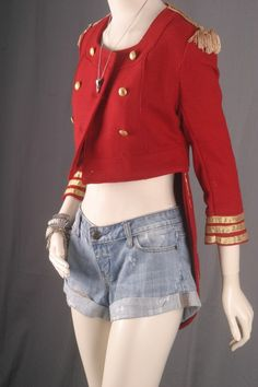 Band Jacket cropped tailcoat red military women size by sparrowlyn, $72.00