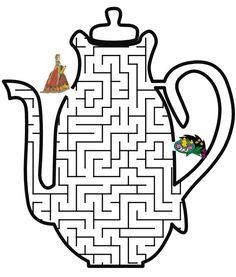 Teapot shaped maze from PrintActivities.com