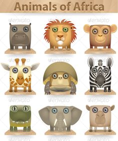 Animals of Africa  #GraphicRiver         Wild animals icon set. Animals of Africa. Isolated on white background