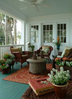 Old Florida River House - eclectic - porch - other metro - Island Paint and Decorating.SO NICE. Love the porch! Outdoor Rooms, Outdoor Living, Outdoor Furniture Sets, Wicker Furniture, Wicker Dresser, Wicker Headboard, Outdoor Photos, Wicker Couch, Rattan Chairs