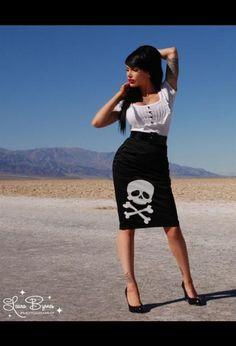 "$48 Deadly Dames ""Deadly Curves"" Black Satin Pencil Skirt with Skull Logo"