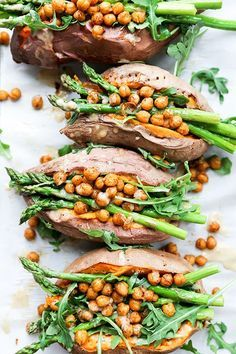 Stuffed Sweet Potatoes with Chickpeas, Asparagus and Arugula | http://www.floatingkitchen.net