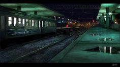 Night train station, Tony Skeor on ArtStation at https://www.artstation.com/artwork/JvV9d