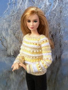Hand-knitted light yellow free-form sweater от OrdaliaHandwork