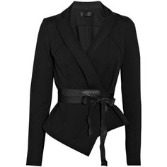 Donna Karan Belted Structured Jersey Jacket ($520) ❤ liked on Polyvore
