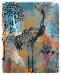 Marja's Creativity (paintings, art journals etc): Kraanvogel / Gelli Arts - Colourstock (21)