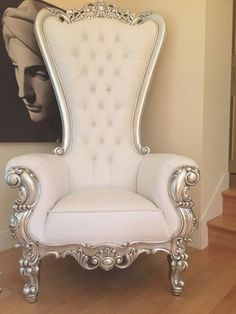 Absolom Roche Chair - Silver & White Leatherette - Client Photo