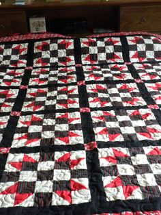 Red and Black Queen Quilt with Vintage Squares by danastiegemeier, $475.00