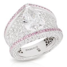 Sarafan Diamond Ring, white gold with white diamonds edged with pink diamonds - striking