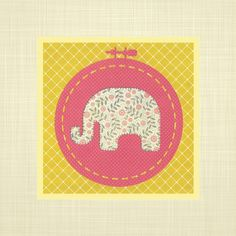 Elephant hoop art print- Nursery art, Kids wall art, Baby Girl, Elephant Nursery Print