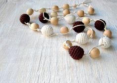 Nursing necklace Rustic linen jewelry Brown by MiracleFromThreads, $29.50