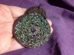 Antique Mini Glass Micro Beaded Coin Change Doll Tiny Purse Rare!
