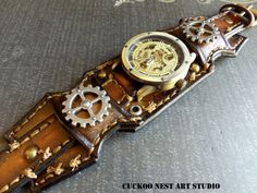 Steampunk Leather Watch Cuff Wrist Watch by CuckooNestArtStudio Studded Leather Armor, Leather Cuffs, Leather Jackets, Pink Leather, Leather Men, Skeleton Watches, Vintage Watches For Men, Leather Watch Bands, Leather Accessories